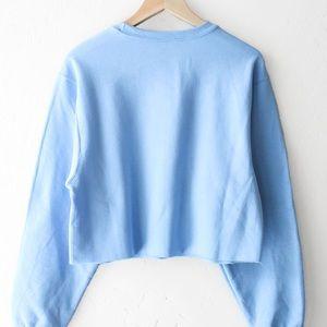F21 Oversized Baby Blue Crop Sweater